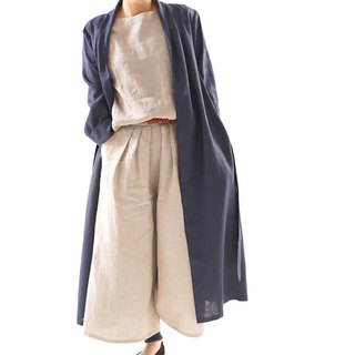 Linen coat mellow lobe long length coat / navy / b14-16