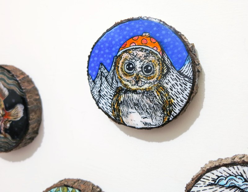 Limited - healing hand-painted wooden Videos (coaster) - Little Owl new caps