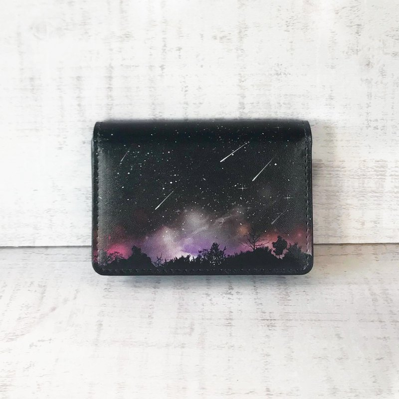 Card Case Meteor BLACK I looked up from the forest / Business Card Holder / star