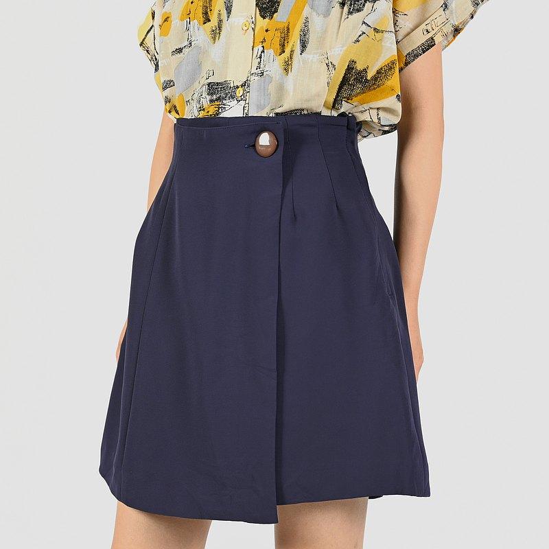 【蛋植物古著】香檳漫步純色高腰古著短褲裙