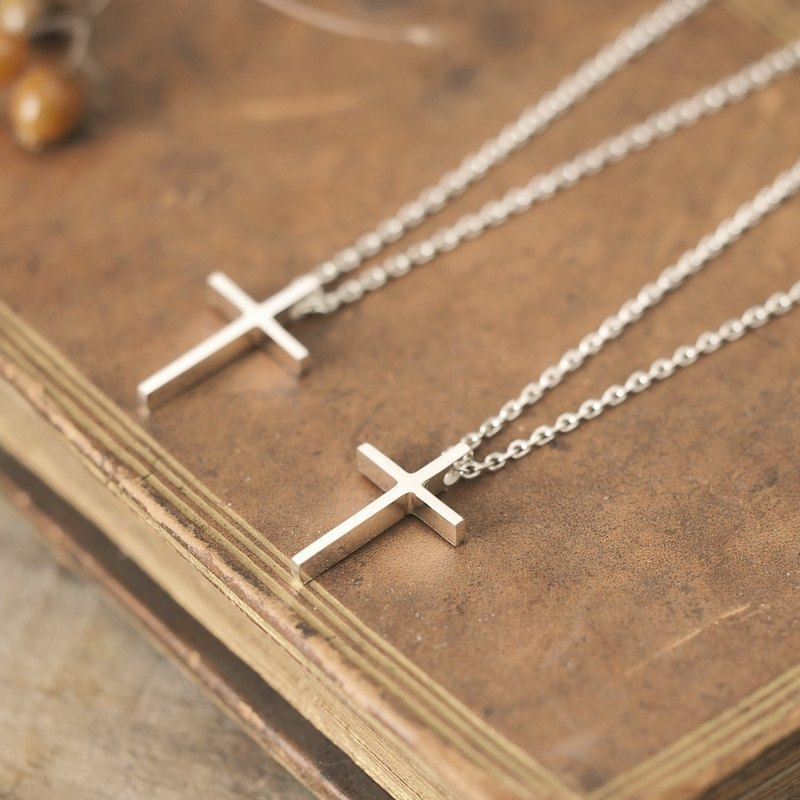 2 sets) Classic Cross Pair Necklace Silver 925