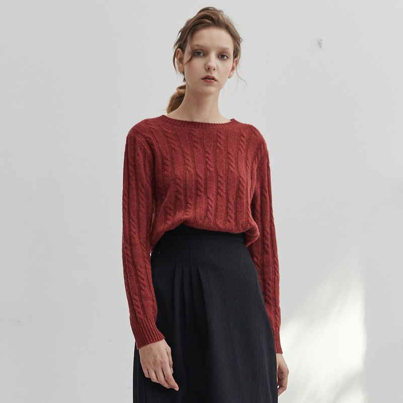 Red 4 color Australian cashmere wool mercerized round neck wool vintage twisted close-fitting wearing a knit sweater