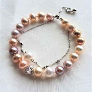 100% Designed 925 Sterling Silver Colored Freshwater Pearl Bracelet