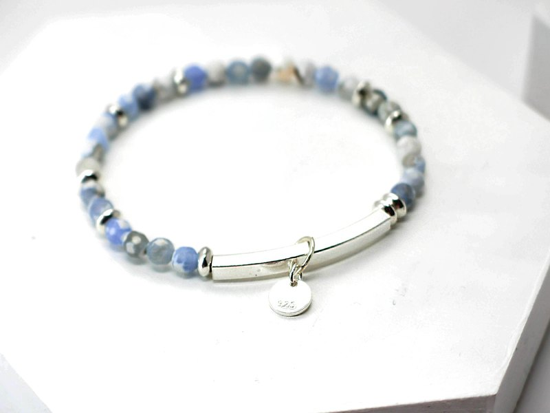 Summer sky blue sea color natural stone silver bracelet │ pink blue gift birthday accessories color agate