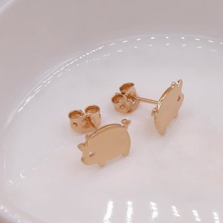 Little Pig Earring - Pink gold plated on brass, Tiny Earring