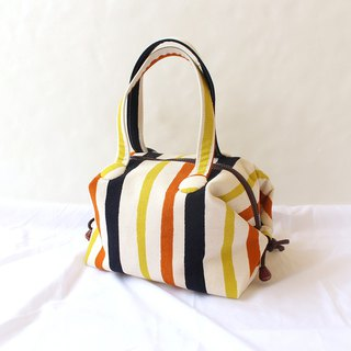 Striped color tie strap tote