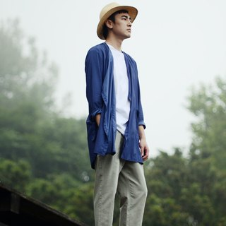 Cold room countermeasure wind style long blue shirt
