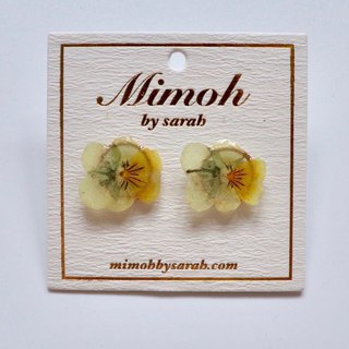 Yellow and White Pansy Flower Earrings