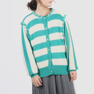 [Egg plant ancient] watermelon striped open old sweater