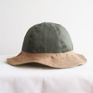 Army green with khaki handmade double-sided hat fisherman hat
