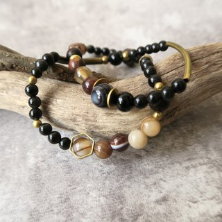Akiyama 【Spirituality • Small handmade] Eyewag eye with agate. Rainbow eye obsidian. Black onyx. Hexagonal brass. Metal. Unisex Neutral double circle bracelet