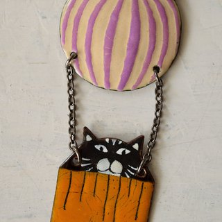 Black Cat In Air Balloon, Enamel Necklace, Cat Jewelry, Cat Necklace,