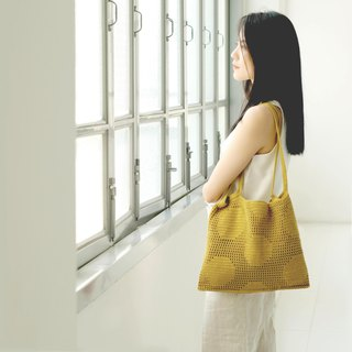Crochet Polka Dot Tote Bag | Mustard
