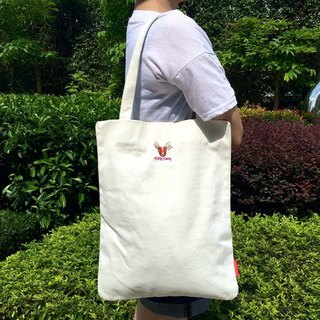 The. Playing. Forest-Deerly Embroidery Canvas Tote / White