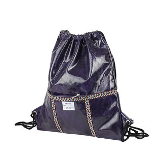 AMINAH-purple totem braided leather beam backpack [am-0285]