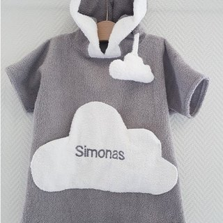 Personalized grey bath robe with white cloud pocket for kids