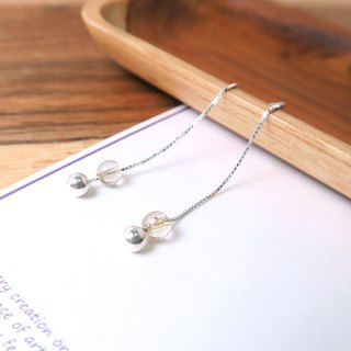 Bling Crystal Venice Long Chain Earrings (Small) - 925 Sterling Silver Natural Stone Earrings