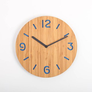 LOO Wall Clock . Round Numbers Blue