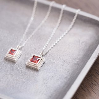 2 set / Square garnet twisted pair necklace silver 925