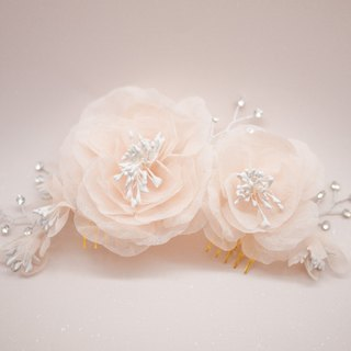 Blush pink silk flowers bridal headpiece with Swarovski crystals