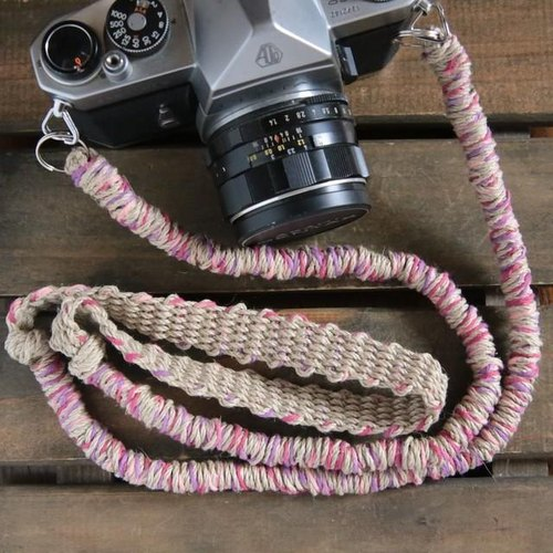 MIX hemp camera strap pink / double ring