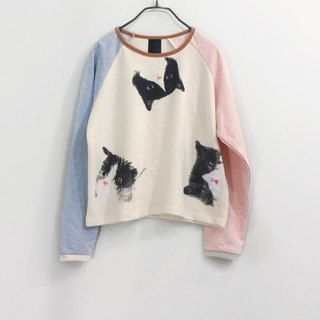 cat cat long sleeve - crop top - pastel