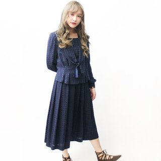Early autumn Japanese made retro fake two dark blue long-sleeved vintage dress