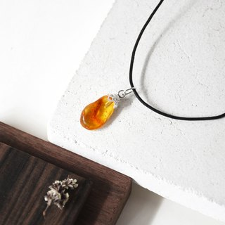 Handmade Amber Pendant with sterling silver necklace, Ready to Ship