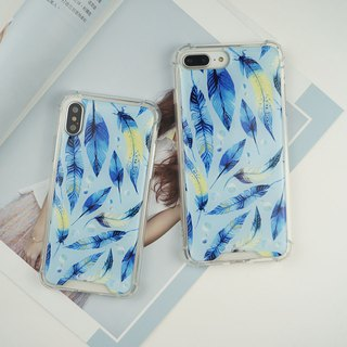 Painted anti-gravity cushion crash-resistant mobile phone shell light feather Feifei _ blue