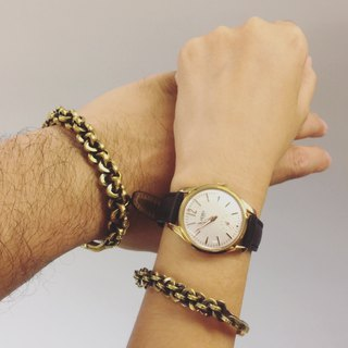 Braided brass bracelet male