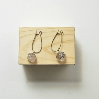 [Bing] Handmade X natural stone earrings person (rose quartz, white crystal)