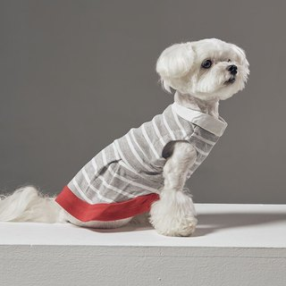 Retro small round neck stripe stitching pet clothes