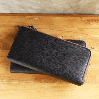 Leather Wallet - X1 - สีดำ (Genuine Cow Leather) / 錢包 / Mobile Phone bag / 手機袋