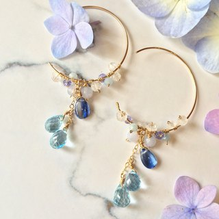Handmade earrings blue crystal circle
