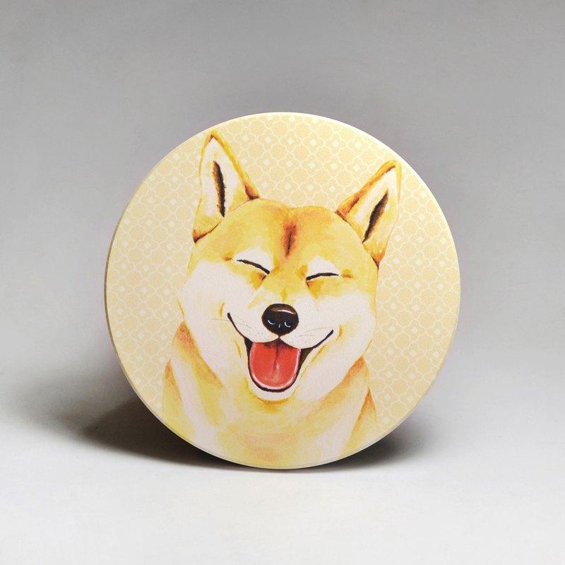 吸水陶瓷杯墊-柴犬/羊頭毛巾柴犬(送貼紙)(可加購客製文字)
