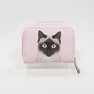 Siamese cat cross pattern rectangular zip coin purse / leisure card package pink gift - love Shirley