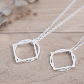 2 co set) Round square square 2 way pair necklace silver 925