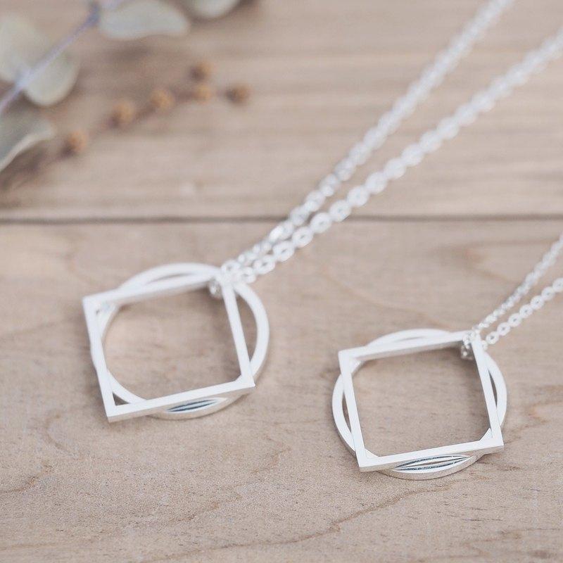 2 件套)圓形/方形 2way 對項鍊銀925