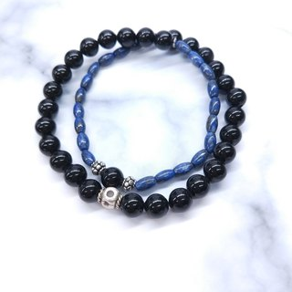 wristband. Lapis lazuli black coral 925 sterling silver double circle bracelet 5mm/8mm Valentine's Day / Christmas gift