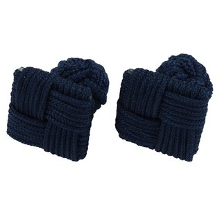 Navy Blue Square Silk Knot Cufflinks