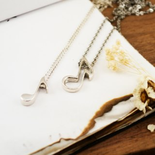 Music Department -Eighth Note Eighth Note Silver Couple Necklace - Pair of Chains