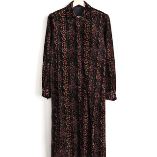 Vintage Amoeba Flower Fleece Vintage Long Sleeve Dress