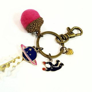 Paris*Le Bonheun. Planet and spaceman. Time travel. Wool felt acorn key ring