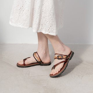 Leather woven sandals_咖