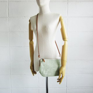 Crossbody Bags mini Curve Hand woven and Botanical Dyed Cotton Green Color 斜背包