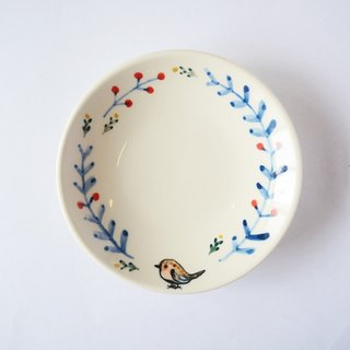 Small hand-painted porcelain plates - small tits wreath Stock - Fast Shipping