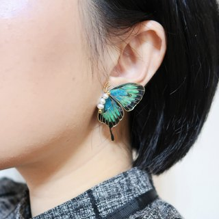 Miss Paranoid paranoia blue-green swallow-tail butterfly resin earrings unilateral sale 925 silver needle