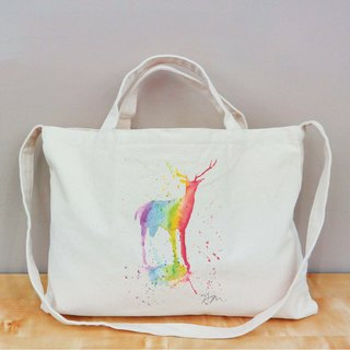[Sam Rainbow Rainbow series] Rainbow Deer canvas bag