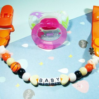 Cheerful custom name baby pacifier chain nipple clip can change vanilla pacifier with blue ball orange
