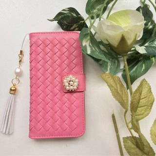 【Pajour】 (Vivid pink) Intorechat notebook type smartphone case 【iPhone】 【notebook】 【knitting】